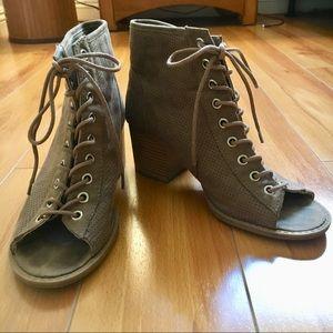 ModCloth Taupe Lace Up Heeled Sandal Booties Vegan